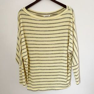 NWT EE:SOME Yellow & Gray Striped Boat neck Blouse